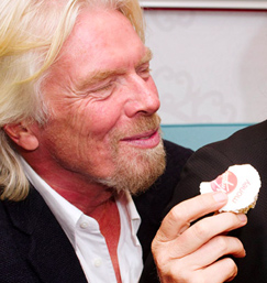 Richard Brandson with Virgin Money Cupcake