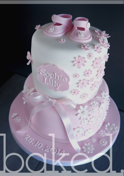 Scatter Flower Christening Cake