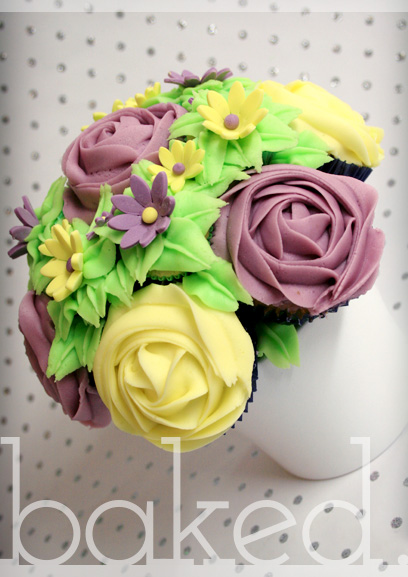 Purple & Yellow Cupcake Bouquet Gift