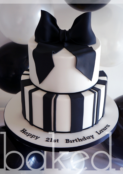 Black Bow Birthday Cake