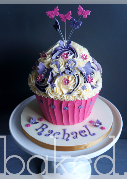 Pretty Butterfly Brithday Giant Cupcake