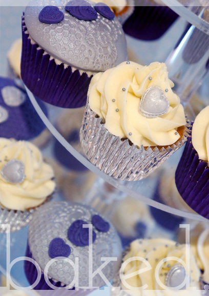 Purple Heart Engagement Cupcakes
