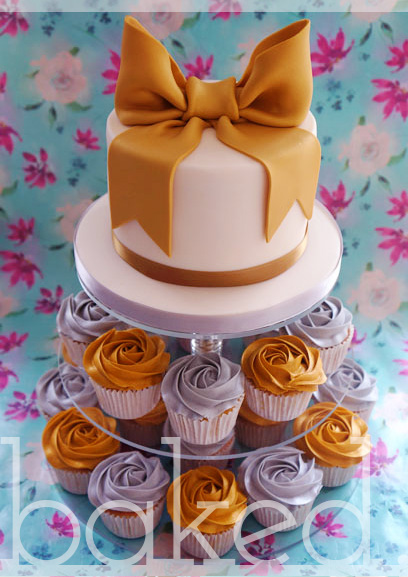 Gold & Silver Bow Wedding Cake