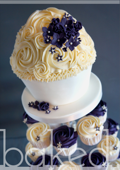 Plum Giant Cupcake Wedding Tower