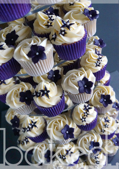 Aubergine Flower Cupcake Wedding Tower