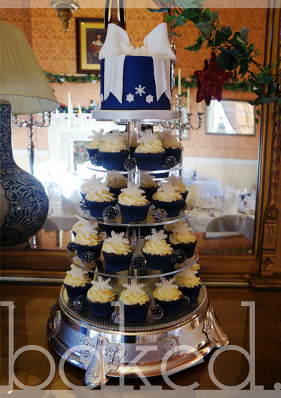 Winter Wedding Snowflake Cupcake Tower