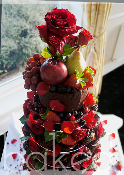 Chocolate Red Rose and Berry Cupcake Wedding Tower