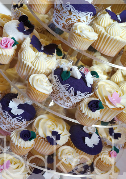 Aubergine and Cream Wedding Cupcake Tower