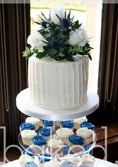 Rustic Blue Rose Wedding Cupcake Tower