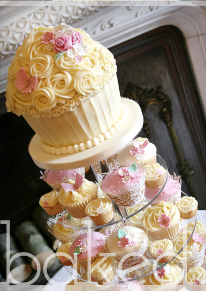 Cream and Pink Giant Cupcake Wedding Tower