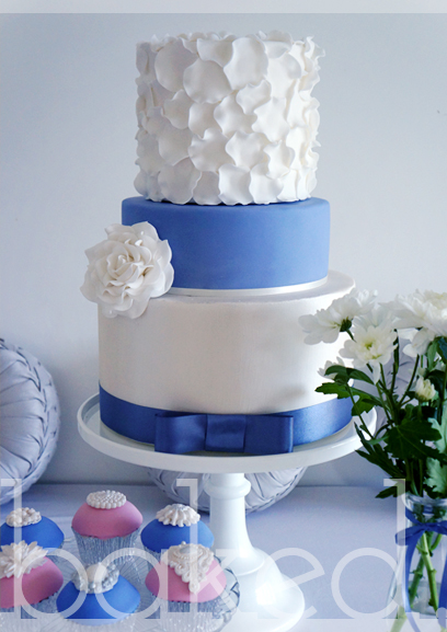Dusky Blue Petal Wedding Cake