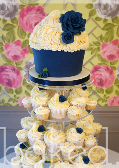Navy Blue Rose Cupcake Tower