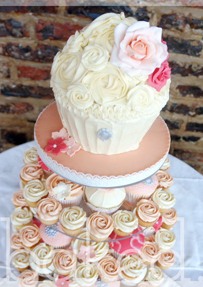 Peaches and Coral Vintage Cupcake Tower