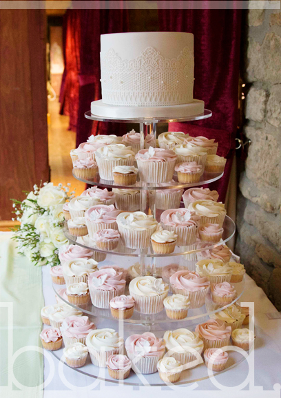 Lace & Rose Wedding Cupcake Tower