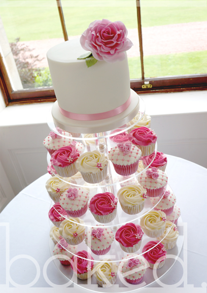 Vintage Rose Wedding Tower Cake