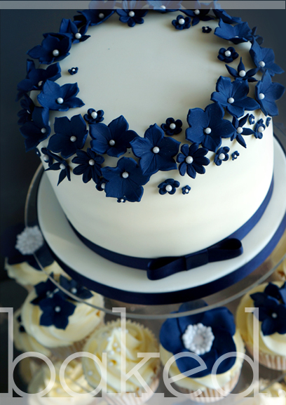 Navy Flower Cluster Cake & Cupcakes