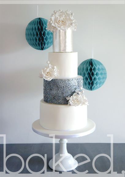Silver Rose Wedding Cake