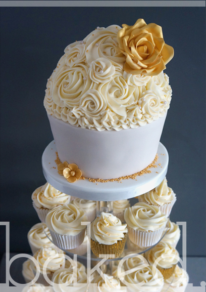 Champagne and Gold Rose Cupcake Tower