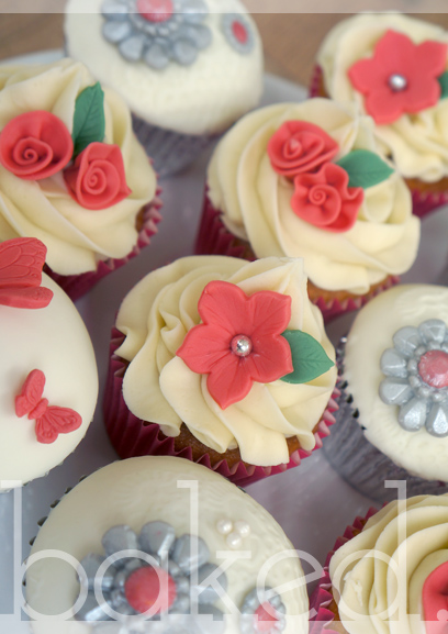 Coral Flower Wedding Cupcakes