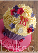 Pink and purple giant cupcake