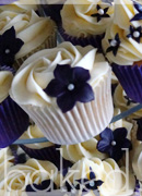 Aubergine Flower Wedding Cupcakes