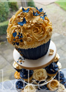 Navy and Antique Gold Giant Cupcake Tower