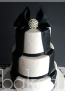 Damask Bow Wedding Cake