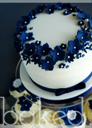 Navy Wedding Flower Cupcake Tower