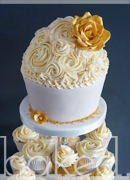 Champagne and Gold Rose Giant Wedding Cupcake